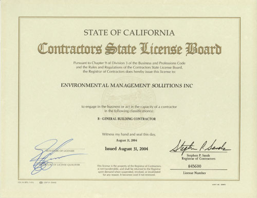 EMS General Contractor License California