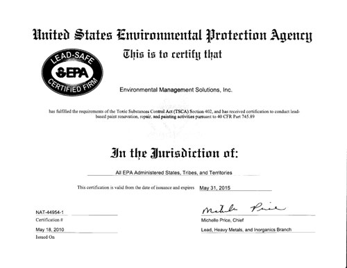 EMS Environmental Protection Agency Certification