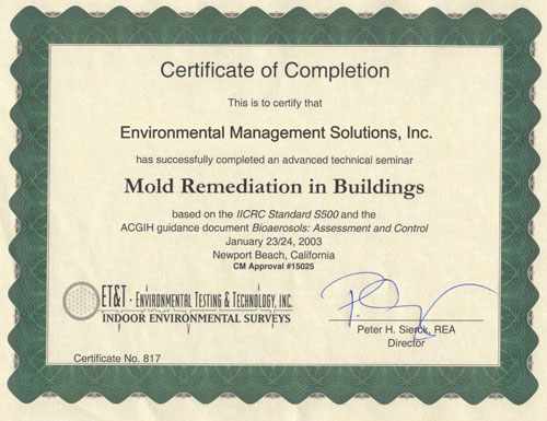 EMS is certified through the Environmental Testing and Technology Inc