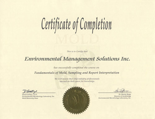 EMS has been awarded the Fundamentals of Mold Certification