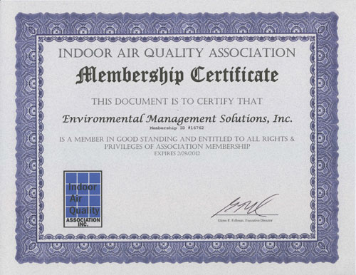 EMS is a member of the Indoor Air Quality Association