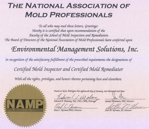 EMS is a member of and certified through the National Association of Mold Professionals